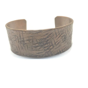 Antiqued Copper Hammered Cuff Bracelet - Scratched