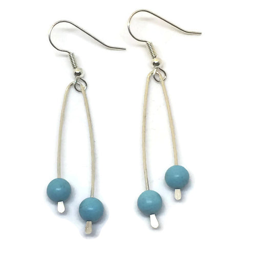Sterling Silver Paddle Earrings - Turquoise Howlite