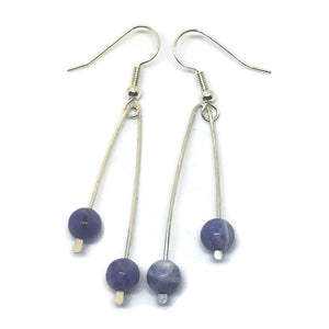 Sterling Silver Paddle Earrings - Sodalite