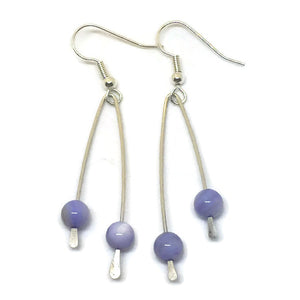 Sterling Silver Paddle Earrings - Lavender Mother of Pearl