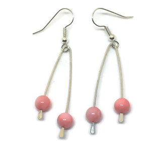 Sterling Silver Paddle Earrings - Pink Mother of Pearl