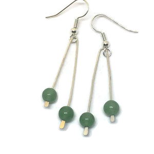 Sterling Silver Paddle Earrings - Green Aventurine