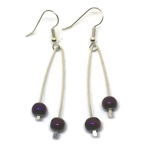 Sterling Silver Paddle Earrings - Metallic Purple Glass