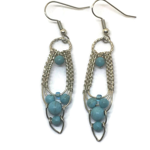 Sterling Silver Turquoise Howlite Cascade Earrings
