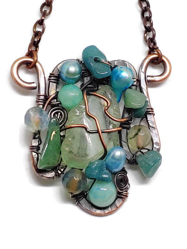 Lake Superior Beach Glass Mosaic Necklace - Small - Seafoam Green