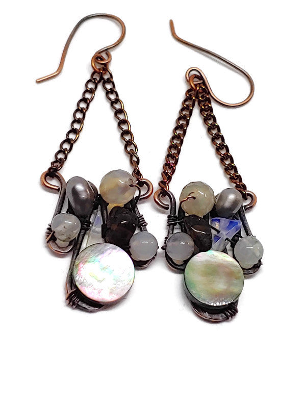 Mother of Pearl Mosaic Earrings