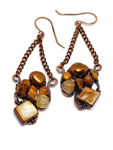 Brown Mother of Pearl Mosaic Earrings