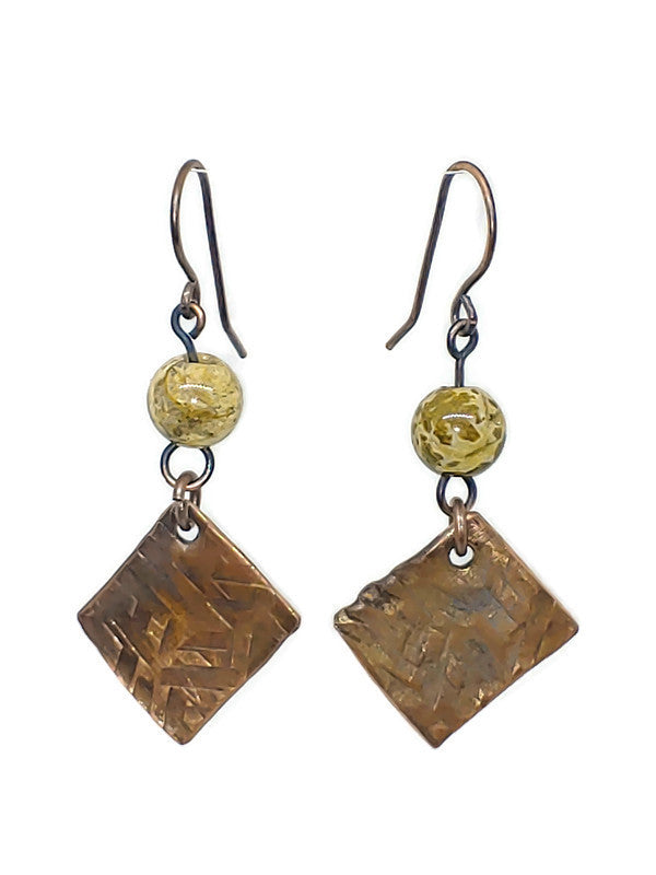 Antiqued Copper Hammered Earrings - Ocean Jasper