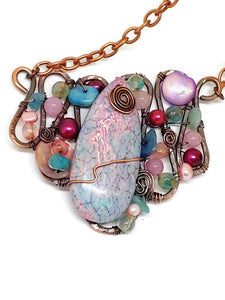 Pink/Turquoise Magnesite Mosaic Necklace - Large