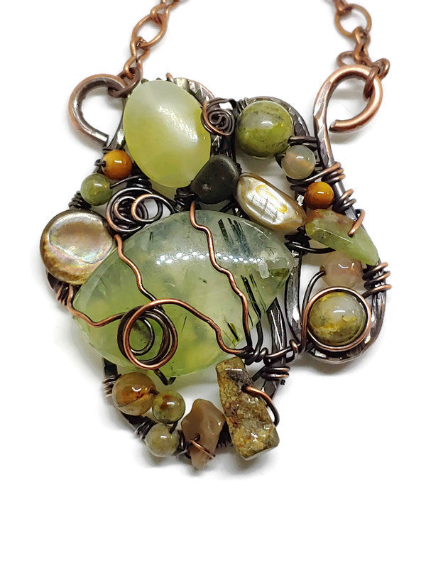 Prehnite Mosaic Necklace - Medium