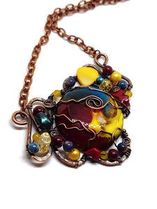 Primary Swirl Handmade Glass Mosaic Necklace - Large