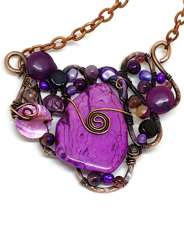 Purple Magnesite Mosaic Necklace - Large