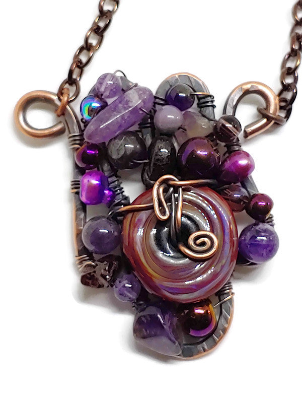 Purple Swirl Handmade Glass Mosaic Necklace - Small