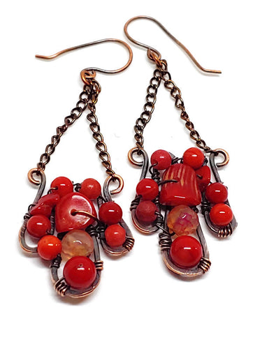 Red Bamboo Coral Mosaic Earrings