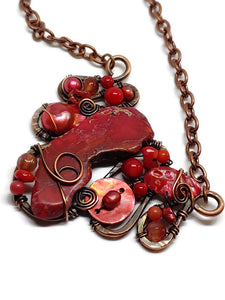Red Magnesite Mosaic Necklace - Large