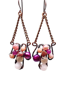 Rose Quartz Mosaic Earrings