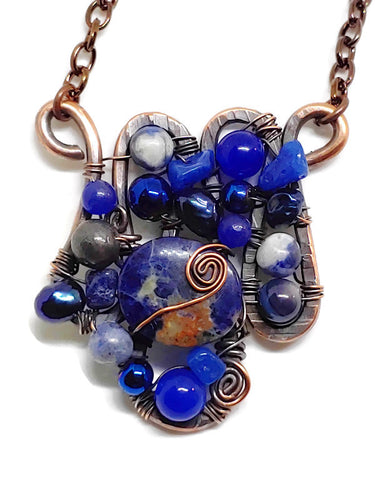 Sodalite Mosaic Necklace - Small
