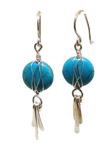 Sterling Silver Celtic Paddle Earrings - Turquoise Howlite
