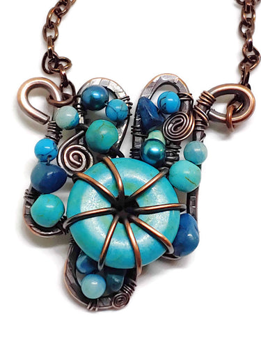 Turquoise Howlite Mosaic Necklace - Small