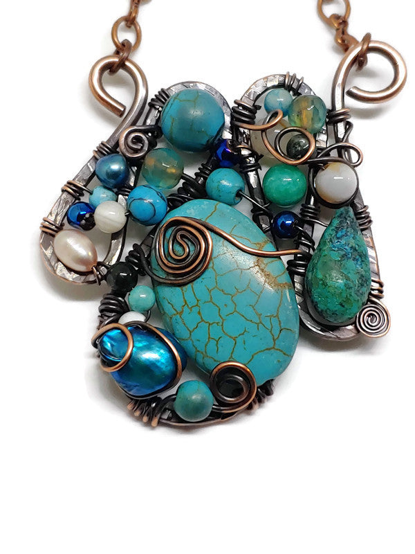 Turquoise Howlite Mosaic Necklace - Medium