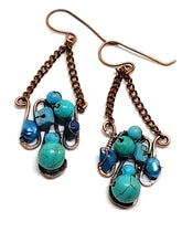 Turquoise Howlite Mosaic Earrings