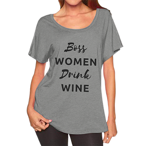 BOSS WOMEN DRINK WINE - Tri-Blend Dolman
