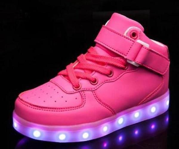 Pink Hi-Top LED Light Up Sneakers by