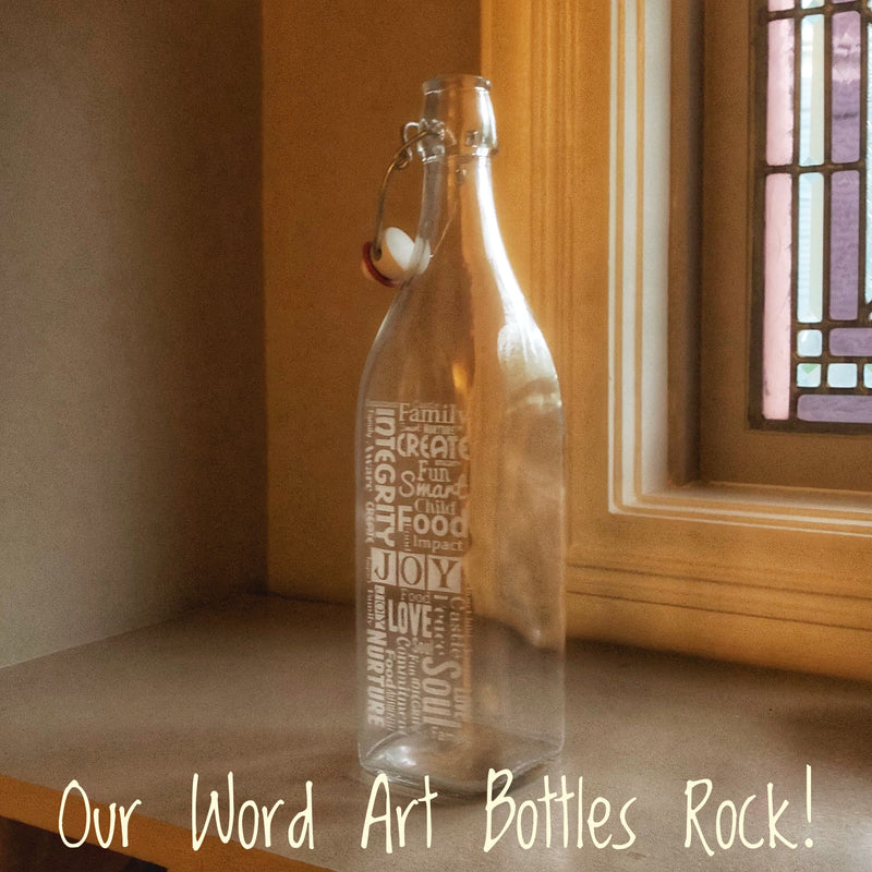 Custom 'Word Art' Swing Top Bottles are All the Rage!
