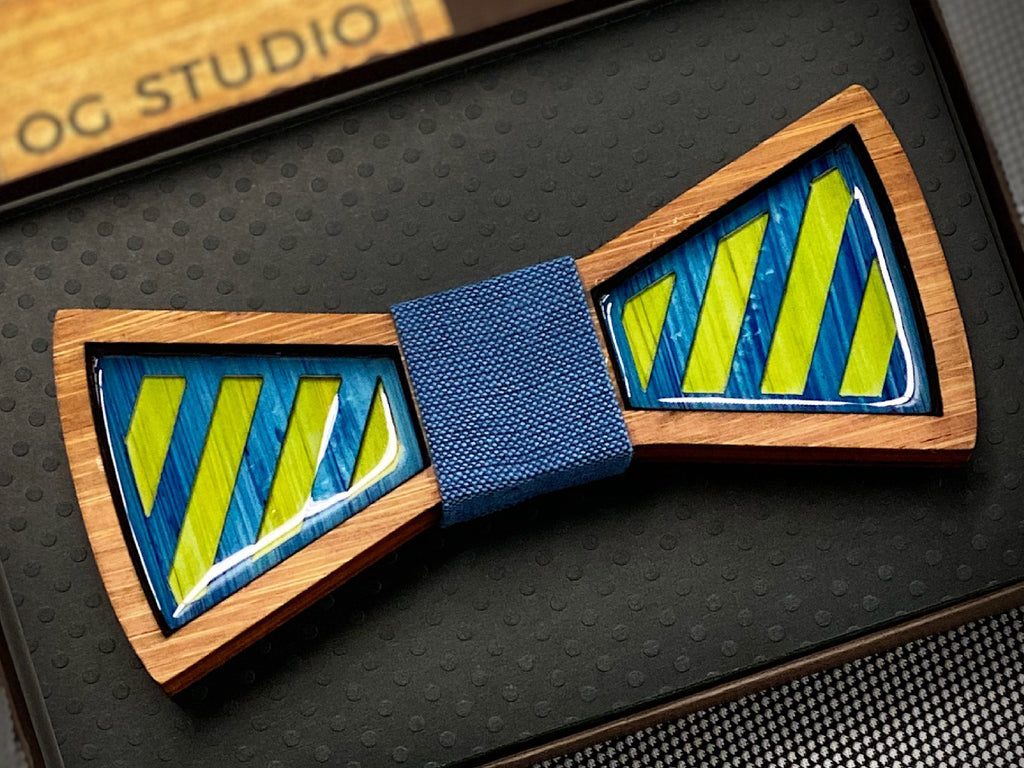 Stripes in Blue/Green: Resin and Wood Bow Tie
