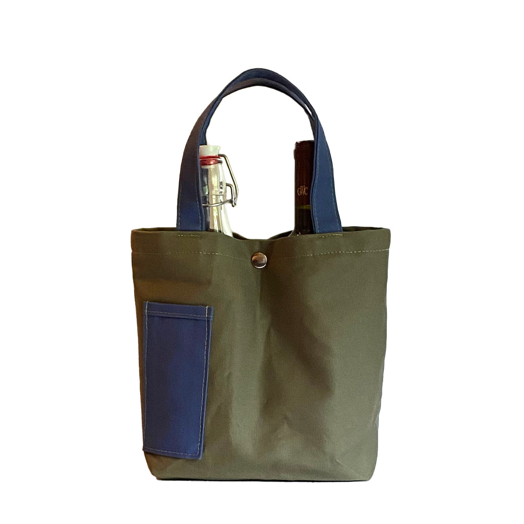 Wine Tote:  Olive/Royal [READ 'DETAILS' FOR DONATION INFO]