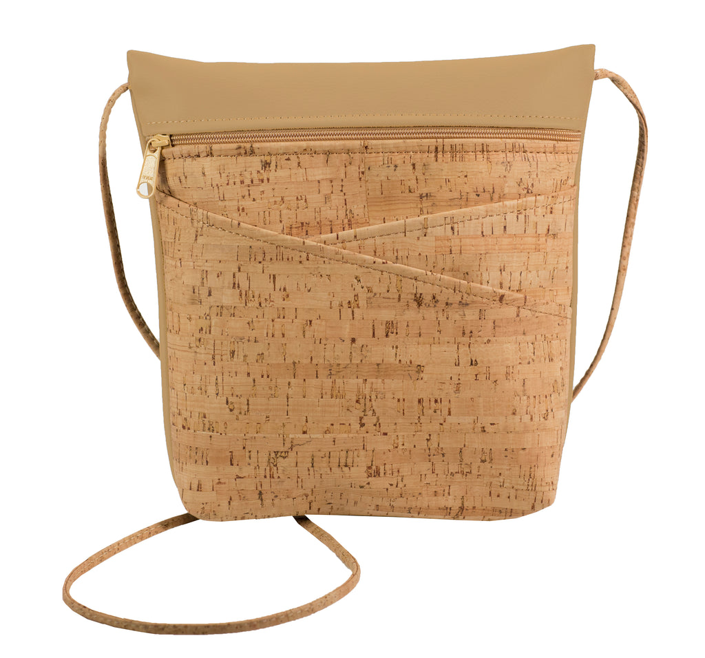 Criss Cross Pocket Cross Body Bag, Cork + Camel Faux Leather [READ 'DETAILS' FOR DONATION INFO]