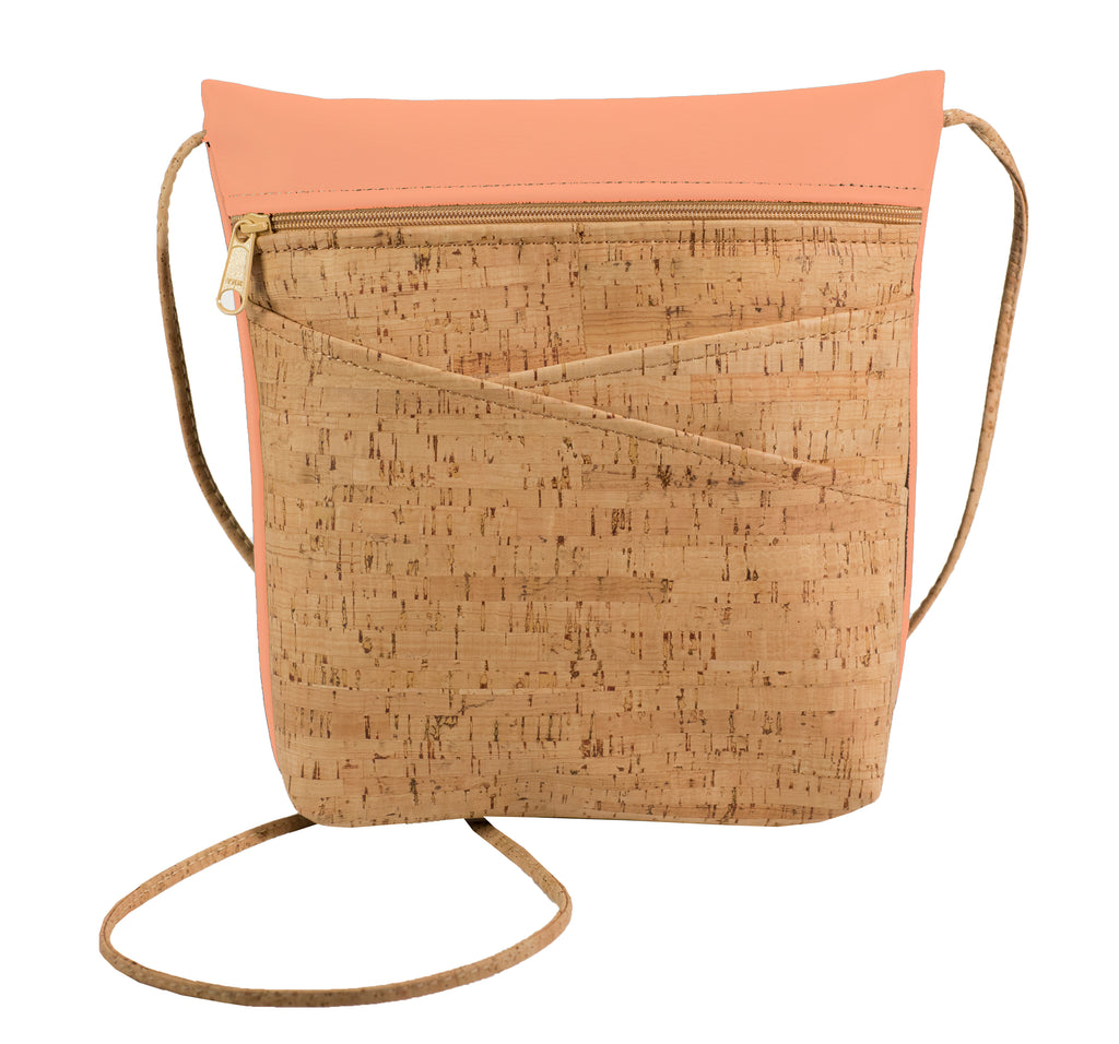 Criss Cross Pocket Cross Body Bag, Cork + Peach Faux Leather [READ 'DETAILS' FOR DONATION INFO]