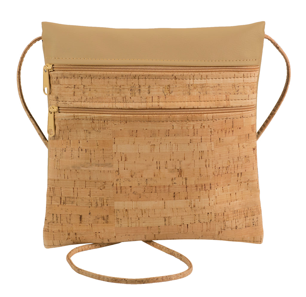 Double Zipper Cross Body Bag, Cork + Camel Faux Leather [READ 'DETAILS' FOR DONATION INFO]