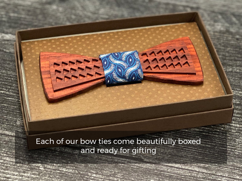 Stripes in Red/Blue: Resin and Wood Bow Tie