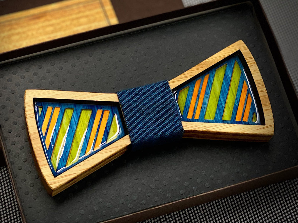 Regimental Stripes: Resin and Wood Bow Tie