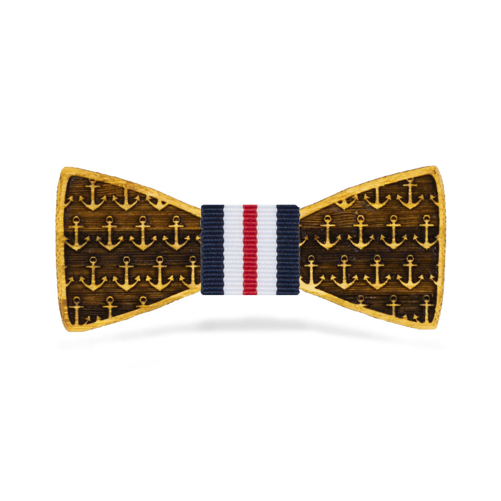 Boys Bamboo Wood Bow Tie | Anchors Away