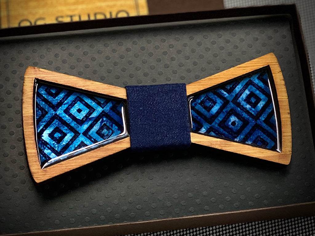 Square Flair: Resin and Wood Bow Tie