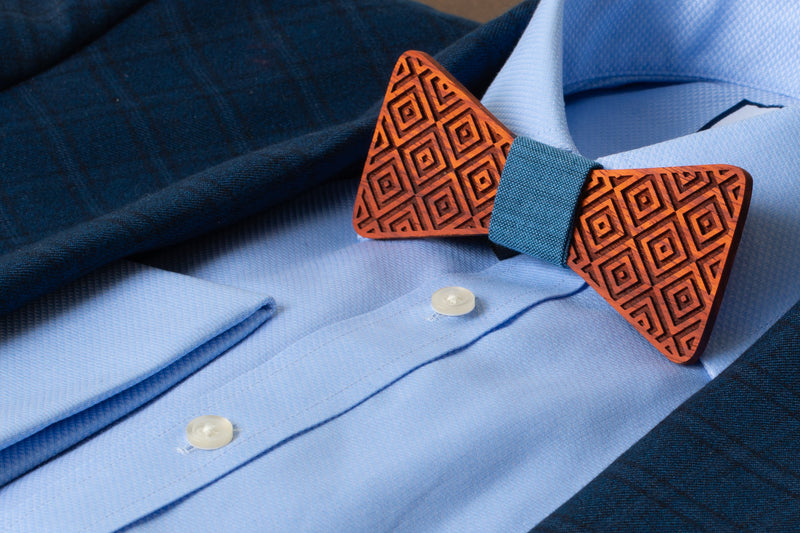 Square Flair Padauk Wooden Bow Tie | Wood Bow Ties by OG Studio Creations