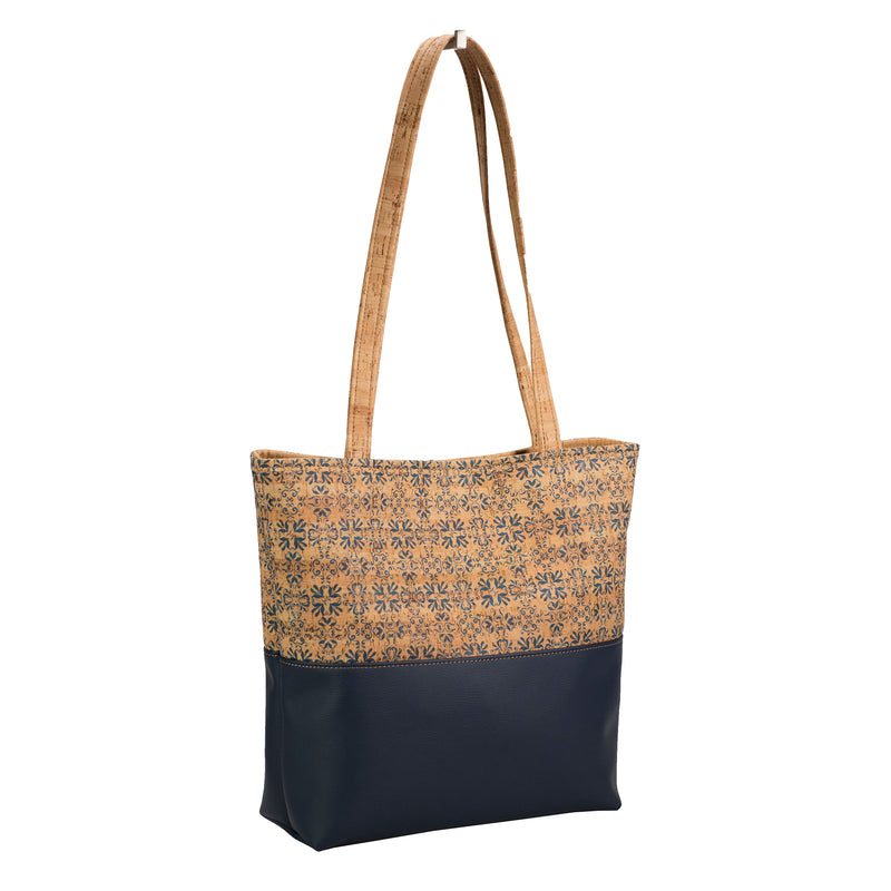 Tote bag, Cork, Navy Faux Leather + Navy Print [READ 'DETAILS' FOR DONATION INFO]