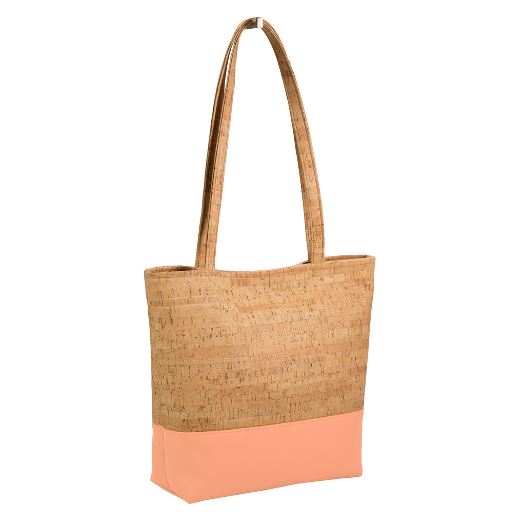 Tote Bag, Cork + Peach Faux Leather [READ 'DETAILS' FOR DONATION INFO]