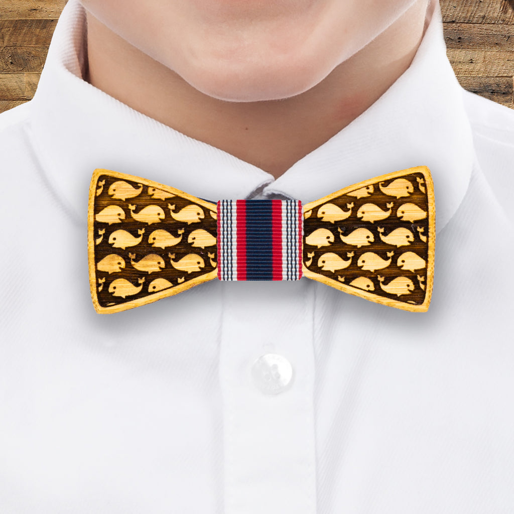Whale Watching: Boy's Bamboo Bow Tie