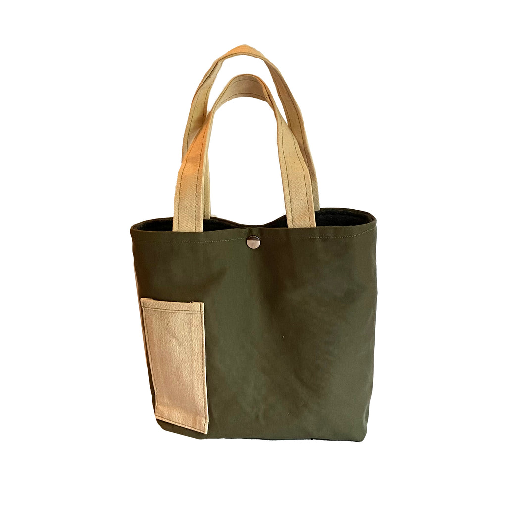 Wine Tote: Olive/Beige [READ 'DETAILS' FOR DONATION INFO]