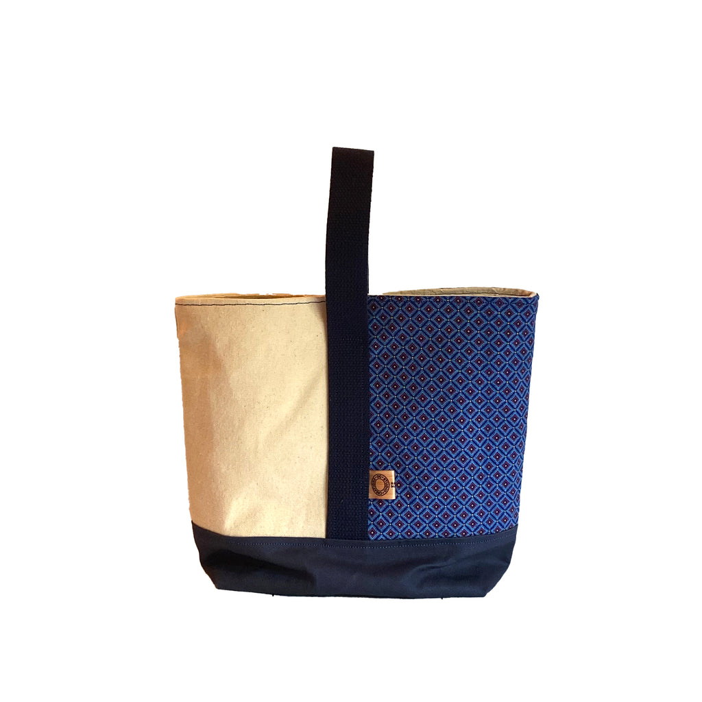 Wine Tote:  Blue Shweshwe [READ 'DETAILS' FOR DONATION INFO]
