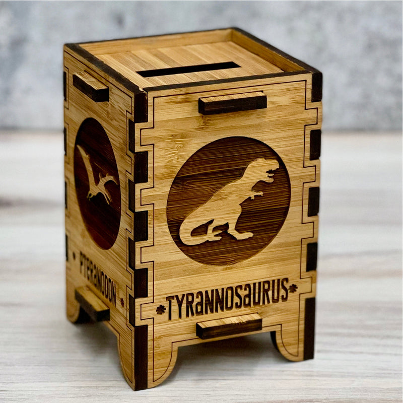 Personalized Piggy Bank, Godzilla Gift, Tyrannosaurus, Wooden Coin Bank, Piggy Bank for Boys, Piggy Bank for Girls, Dinosaur Gifts