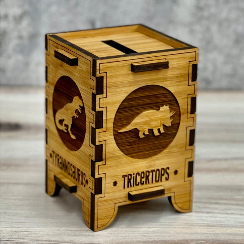 personalized piggy bank, personalized gift, piggy bank dinosaur, Godzilla gift, wooden coin bank, piggy bank for boys. Dino