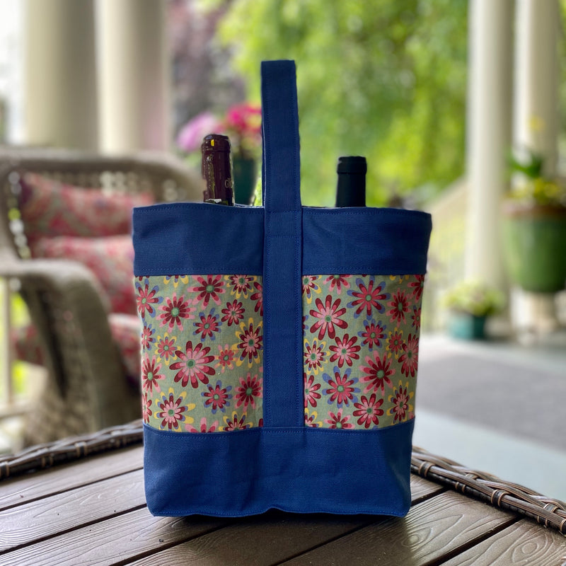 Wine Tote:  Flowers [READ 'DETAILS' FOR DONATION INFO]