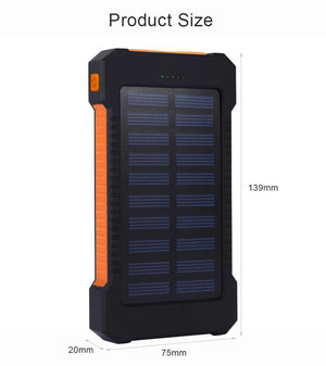 Waterproof 10000mAh Solar Power Bank | Freaky Inventions