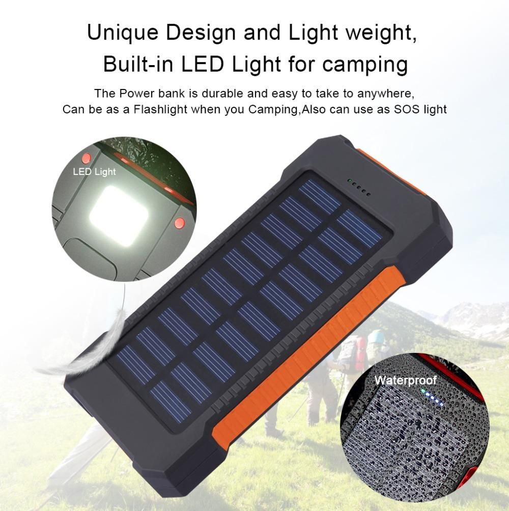10000mAh Solar Power Bank Waterproof Dual USB Battery Charger For Cell Phone | Freaky Inventions
