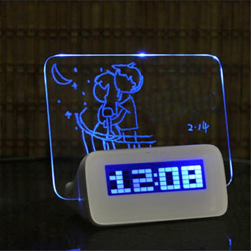 LED Digital Alarm Clock with Message Board | Freaky Inventions