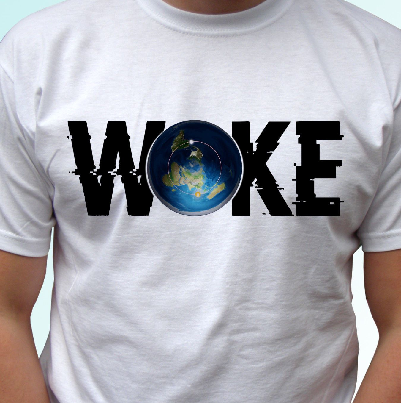 WOKE Flat Earth T-shirt | Freaky Inventions